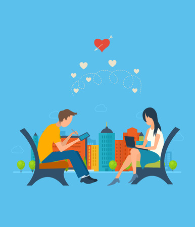 dating: Boy and girl talking on the internet. Online communication concept. Meeting love couple. Valentine Day postcard