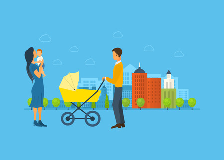 urban parenting: Happy young family with stroller and a baby, walk concept vector illustration of a flat