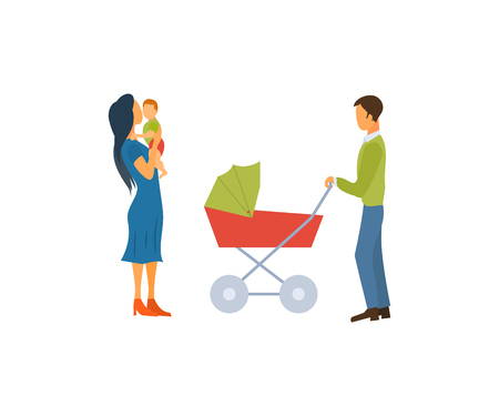 Happy young family with a stroller and a baby, walk concept vector illustration of a flat