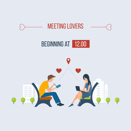 girl in love: Boy and girl talking on the internet. Online communication concept. Meeting love couple. Valentine Day postcard