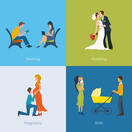 mom dad: Creación de una familia. Reuniones, bodas, embarazo, nacimiento del niño. Familia con niños. Familia en previsión del niño. Vector conjunto de caracteres en un estilo plano. Vectores