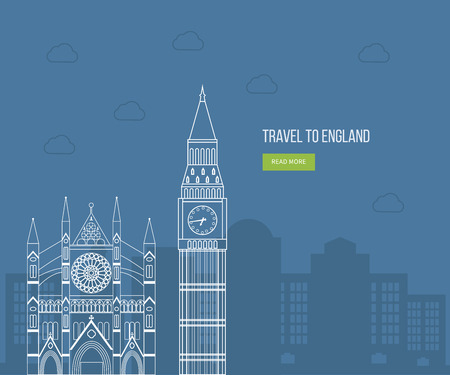 ロンドン, イギリス フラット アイコン デザイン旅行コンセプト。ロンドン旅行。歴史と近代的な建物。ベクトル図