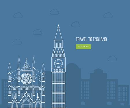 big: Londres, Reino Unido iconos planos concepto de viaje de dise�o. Los viajes de Londres. Edificio hist�rico y moderno. Ilustraci�n vectorial