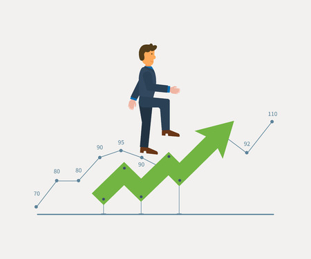 curve arrow: Business success and growth concept. Man in suit running on a growing chart curve arrow. Flat style vector illustration isolated on white background.