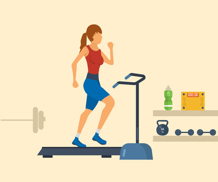 endurance run: Young adult woman running on treadmill in fitness gym concept flat vector illustration. Sport fitness friendly female Illustration