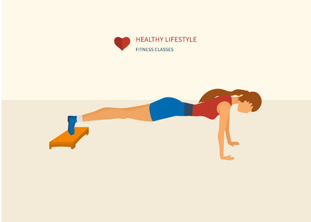 pushup: Young adult woman push-up  from the floor in fitness gym concept flat vector illustration. Sport fitness friendly female Illustration