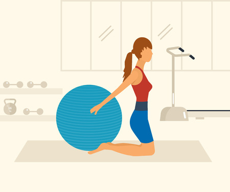 aerobics class: Cartoon illustration of a woman exercising with gymnastic ball. Sport fitness friendly female