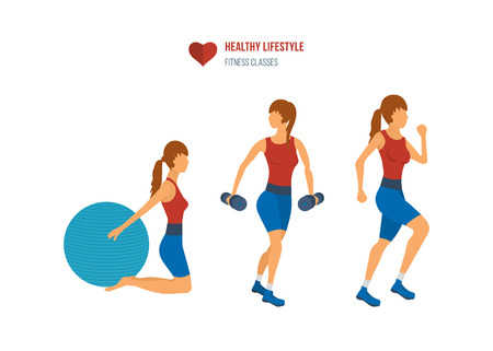 female fitness: Young adult exercising in fitness gym. Sport fitness friendly female
