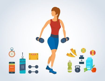 sport woman: Cartoon illustration of a woman exercising with dumbbells. Sport fitness friendly female Illustration