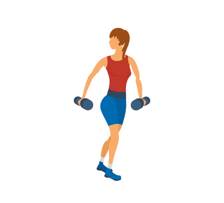 woman exercising: Cartoon illustration of a woman exercising with dumbbells. Sport fitness friendly female Illustration