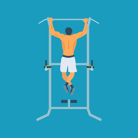 muscularity: Man pull-up up on horizontal bar in gym. Flat vector illustration