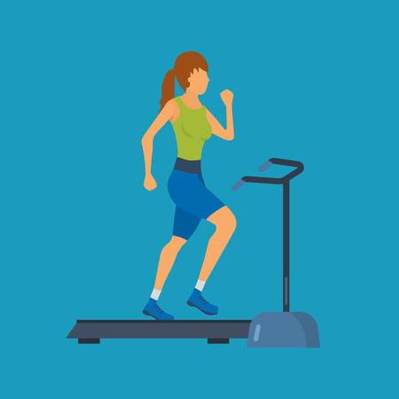 young adult: Young adult woman running on treadmill in fitness gym concept flat vector illustration. Sport fitness friendly female Illustration