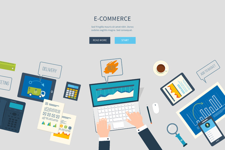 business analysis: Flat design illustration concepts for business analysis and planning, e-commerce, financial report, online shopping, project management, development.