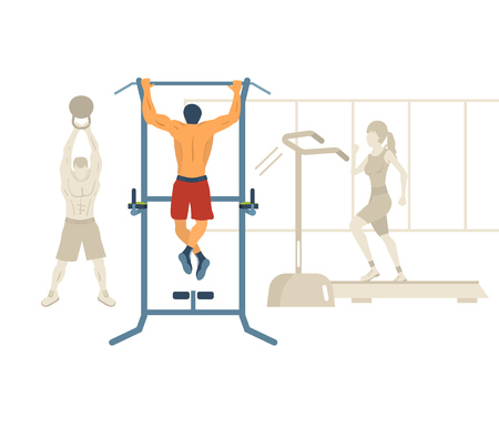 gym: Man pull-up up on horizontal bar in gym. Flat vector illustration