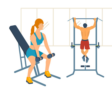 Cartoon illustration of a woman exercising with dumbbells sitting on the bench. Man pull on horizontal bar in the gym