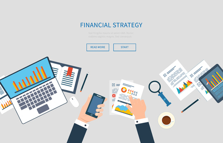 mobile application: Flat design modern vector illustration concept of analyzing project, financial report and strategy, financial analytics, market research, teamwork and planning documents