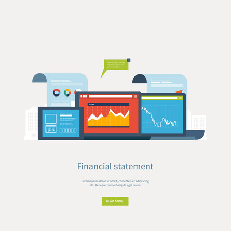 financial statement: Flat design illustration concepts for business analysis, financial statement, consulting, team work, project management and development. Concepts web banner and printed materials.