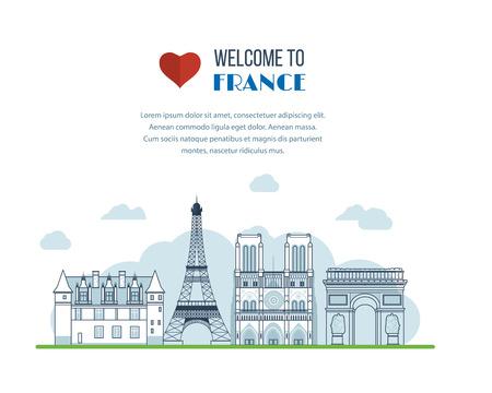 notre: French Landmarks. Vector travel destinations icon set. Eiffel tower, Notre Dame in Paris, France