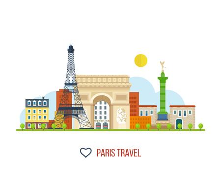 paris france: French Landmarks. Vector travel destinations icon set. Eiffel tower, Notre Dame in Paris, France