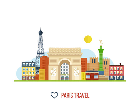 notre dame: French Landmarks. Vector travel destinations icon set. Eiffel tower, Notre Dame in Paris, France