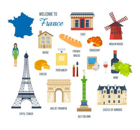 moulin: French Landmarks. Vector travel destinations icon set. Eiffel tower, Notre Dame, Moulin Rouge, castle in Paris, France