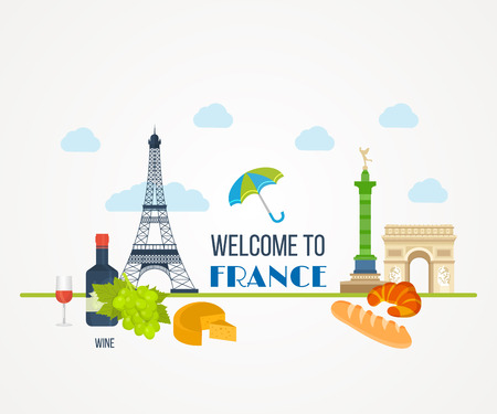 travel icon: French Landmarks. Vector travel destinations icon set. Eiffel tower, Notre Dame in Paris, France