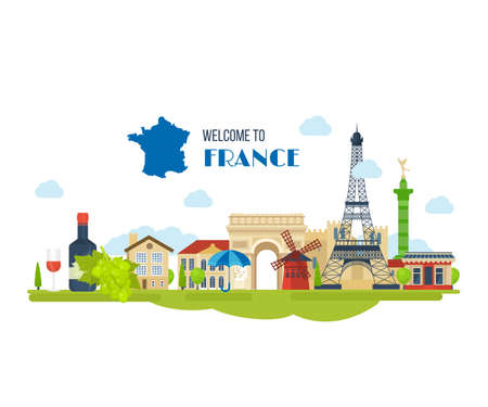 dame: French Landmarks. Vector travel destinations icon set. Eiffel tower, Notre Dame in Paris, France