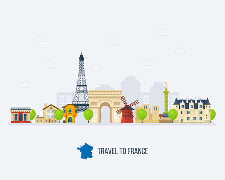 dame: French Landmarks. Travel to France. Eiffel tower, Notre Dame in Paris, France
