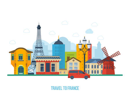 french: French Landmarks. Travel to France. Eiffel tower, Notre Dame in Paris, France