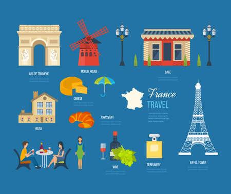 touristic: French Landmarks. Vector travel destinations icon set. Eiffel tower, Notre Dame, Moulin Rouge, castle in Paris, France