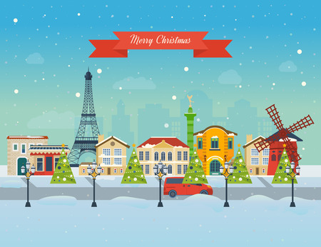 Cute invitation card with winter city life and space for text. Merry Christmas greeting card design. Paris Christmas winter. Vector illustration.