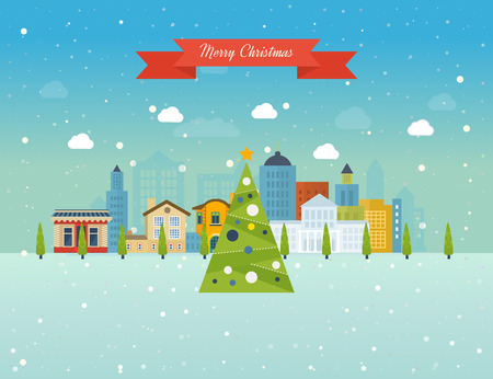 Cute invitation card with winter city life and space for text. Merry Christmas greeting card design. Vector illustration. Vettoriali