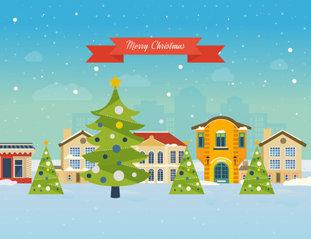 winter trees: Cute invitation card with winter city life and space for text. Merry Christmas greeting card design. Vector illustration. Illustration