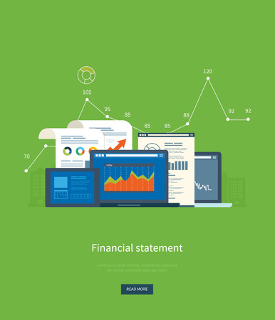the project: Flat design illustration concepts for business analysis, financial statement, consulting, team work, project management and development. Concepts web banner and printed materials.