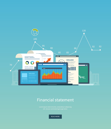 stocks: Flat design illustration concepts for business analysis, financial statement, consulting, team work, project management and development. Concepts web banner and printed materials.