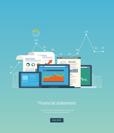 concepto: Piso conceptos de diseño de ilustración para el análisis de negocio, estados financieros, consultoría, trabajo en equipo, gestión de proyectos y el desarrollo. Bandera Conceptos web y materiales impresos. Vectores