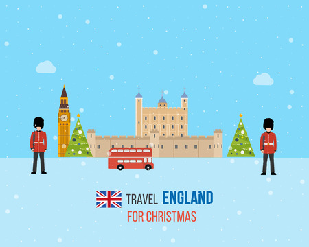 christmas winter: London, United Kingdom, Big Ben tower flat icons design travel concept. Cute invitation card with winter city life and space for text. Merry Christmas greeting card design. Vector illustration.