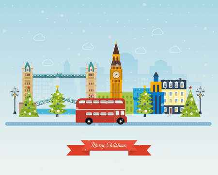 london bus: London, United Kingdom, Big Ben tower flat icons design travel concept. Cute invitation card with winter city life and space for text. Merry Christmas greeting card design. Vector illustration.