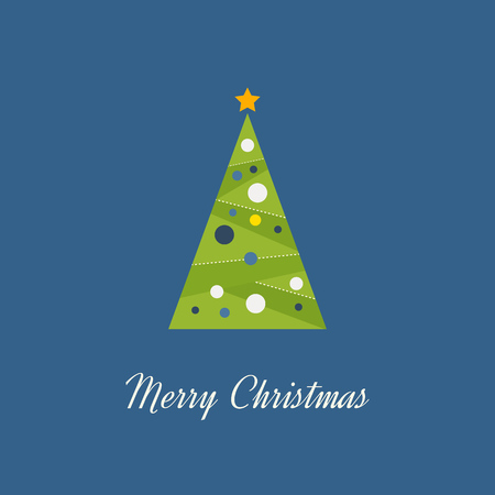 decorated christmas tree: Green decorated Christmas tree with a yellow star. Christmas greeting card. Happy New Year. Vector illustration