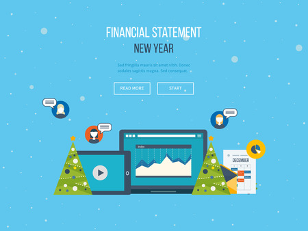 financial year: The financial report in the new year.  Merry Christmas greeting card design.
