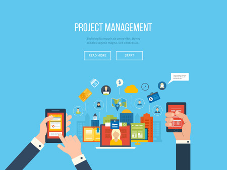 Flat design illustration concepts for project management. Concept to building successful business Vettoriali