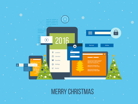 digital data: Flat vector design illustration concept for project management and application development. Merry Christmas greeting card design. Illustration