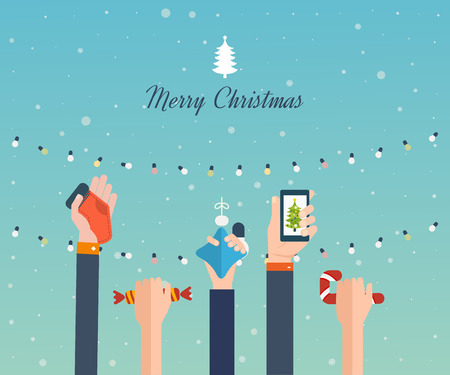 wallpaper: Cute invitation card with winter city life and space for text. Merry Christmas greeting card design. Vector illustration Illustration