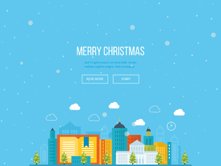 real people: Cute invitation card with winter city life and space for text. Merry Christmas greeting card design. School and university building icon. Urban landscape.