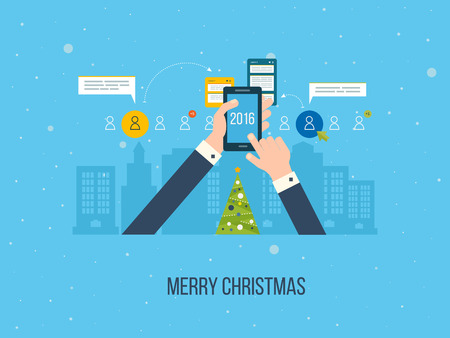 urban planning: Flat design illustration concepts for business analysis and planning, consulting, team work, project management and development. Merry Christmas greeting card design. Illustration