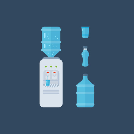 hot water bottle: Water cooler. Bottle office, plastic and liquid. Water bottle. Vector illustration