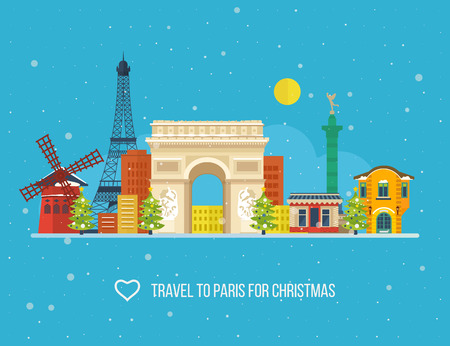 Travel to Paris for christmas. Cute invitation card with winter city life and space for text. Merry Christmas greeting card design. Paris Christmas winter. France Christmas and New Year.