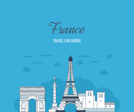 dame: French Landmarks. Eiffel tower, Notre Dame in Paris, France. France travel. Historical and modern building in Paris and France.