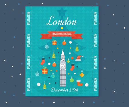 london england: Travel to London for christmas. Cute invitation card with winter city life and space for text. Merry Christmas greeting card design. England Christmas and New Year. Flyer, Brochure Design Templates.