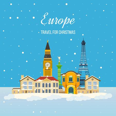 europa: Londres, Reino Unido y Francia iconos planos del diseño de concepto de viaje. Viajar a Europa para la Navidad. Tarjeta de invitación con la vida urbana de invierno y el espacio para el texto. diseño de la tarjeta de felicitación de la Feliz Navidad.